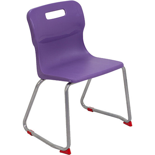 Titan Skid Base Classroom Chair Size 4 380mm Seat Height (Ages: 8-11 Years) Purple T24-P - 5 Year Guarantee