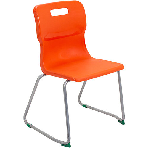 Titan Skid Base Classroom Chair Size 5 430mm Seat Height (Ages: 11-14 Years) Orange T25-O - 5 Year Guarantee