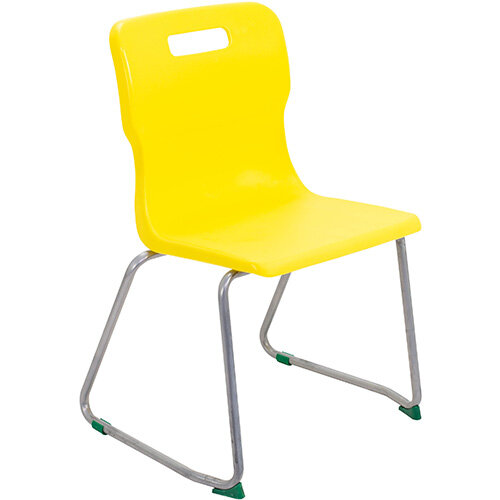 Titan Skid Base Classroom Chair Size 5 430mm Seat Height (Ages: 11-14 Years) Yellow T25-Y - 5 Year Guarantee