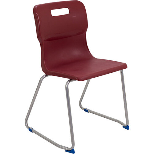 Titan Skid Base Classroom Chair Size 6 460mm Seat Height (Ages: 14+ Years) Burgundy T26-BU - 5 Year Guarantee