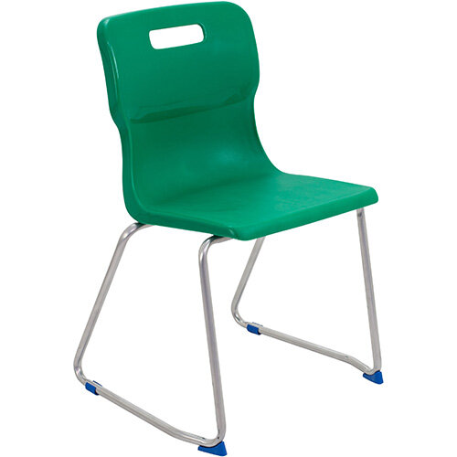Titan Skid Base Classroom Chair Size 6 460mm Seat Height (Ages: 14+ Years) Green T26-GN - 5 Year Guarantee