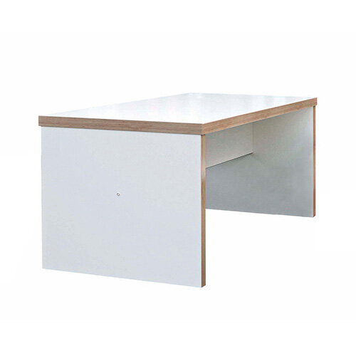 Frovi BLOCK Medium White Panel Bench Table With Ply Effect Edge W1800xD800xH750mm