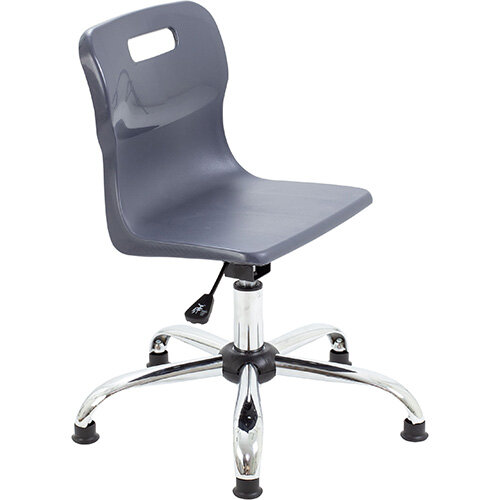 Titan Swivel Junior Classroom Chair with Glides 365-435mm Seat Height (Ages: 6-11 Years) Charcoal T30-CG - 5 Year Guarantee