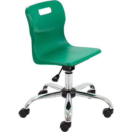 Titan Swivel Junior Classroom Chair with Castors 365-435mm Seat Height (Ages: 6-11 Years) Green T30-GN - 5 Year Guarantee