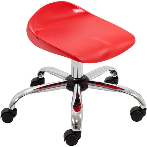 Titan Swivel Junior Classroom Stool with Castors 405-475mm Seat Height (Ages: 6-11 Years) Red T32-R - 5 Year Guarantee