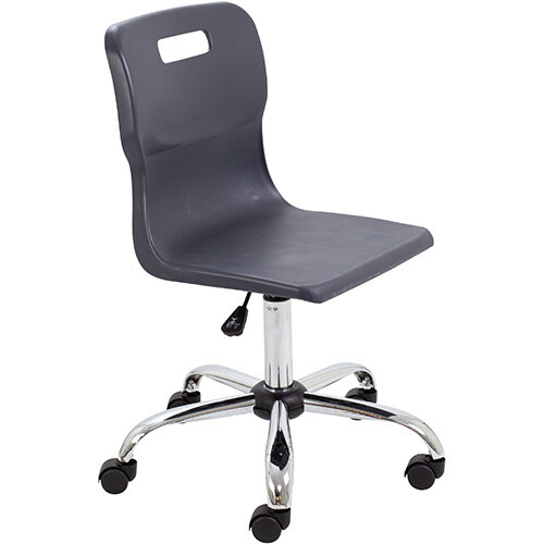 Titan Swivel Senior Classroom Chair with Castors 435-525mm Seat Height (Ages: 11+ Years) Charcoal T35-C - 5 Year Guarantee