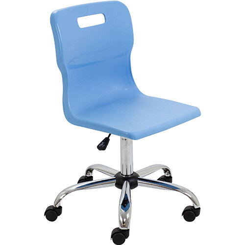 Titan Swivel Senior Classroom Chair with Castors 435-525mm Seat Height (Ages: 11+ Years) Sky Blue T35-CB - 5 Year Guarantee