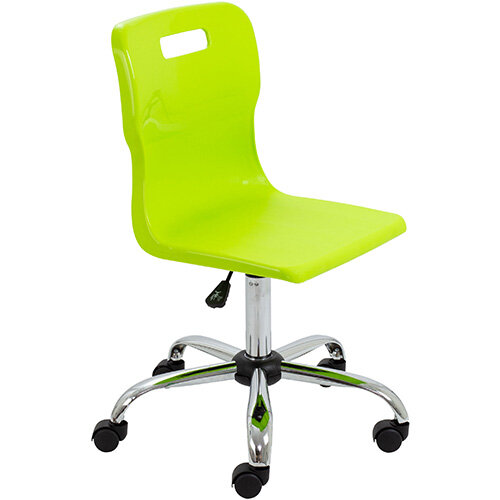 Titan Swivel Senior Classroom Chair with Castors 435-525mm Seat Height (Ages: 11+ Years) Lime T35-L - 5 Year Guarantee