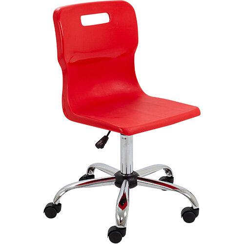 Titan Swivel Senior Classroom Chair with Castors 435-525mm Seat Height (Ages: 11+ Years) Red T35-R - 5 Year Guarantee