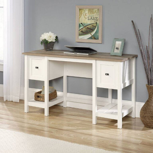 Shaker Style Home Office Desk Soft With White Finish &A Lintel Oak Accent Desktop