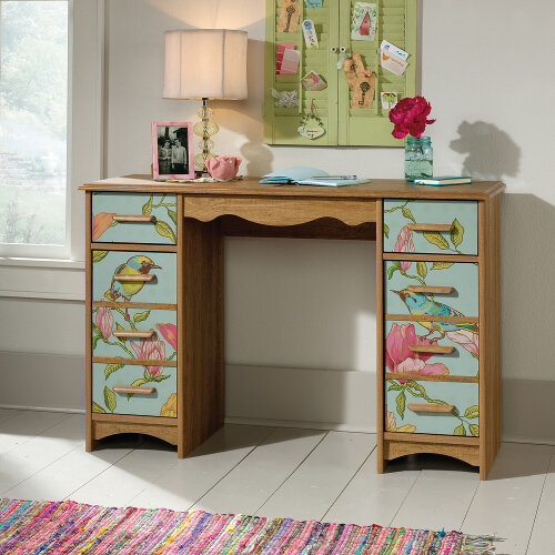 Boutique Style Home Office Desk In Scribed Oak Finish And Graphic Front Panels Featuring Birds &Floral Patterns