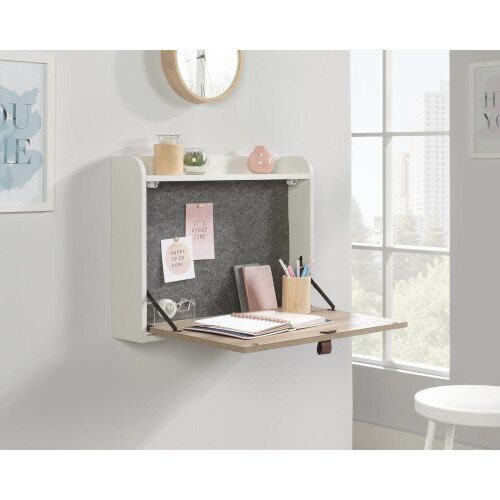 Avon Leather Handled Space Saving Wall Mounted Home Office Desk White Finish With Sky Oak Accent W630mm