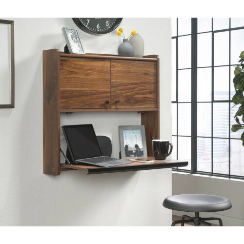 Hampstead Park Wall Mounted Home Office Desk Grand Walnut Finish W714mm