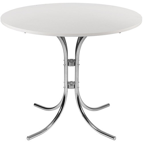 Circular 900mm Bistro Table With White Wipe Clean Top &Elegant Chrome Base