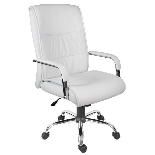 Kendal Luxury Supple Faux Leather Executive Office Chair In White