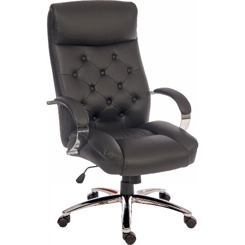Hendon Traditional Leather Look Executive Office Armchair With A Modern Twist In Black