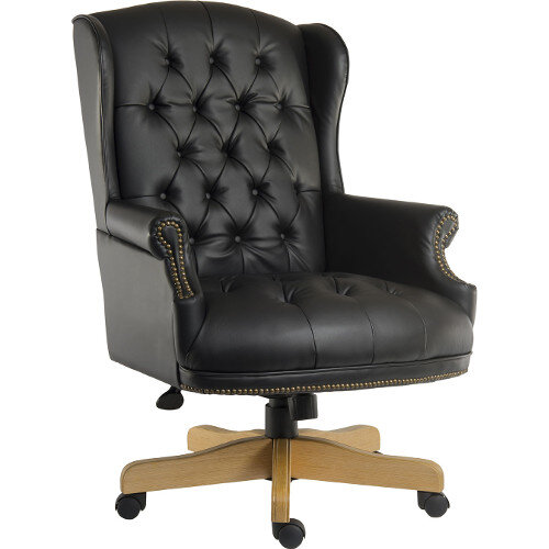 Chairman Noir Executive Leather Faced Office Chair With Light Wood Finish 5 Castor Base Black