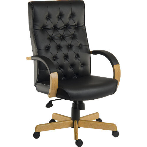 Warwick Traditional Office Chair Button Tufted Bonded Leather Backrest In Black With Light Wood Coloured Arms And Base