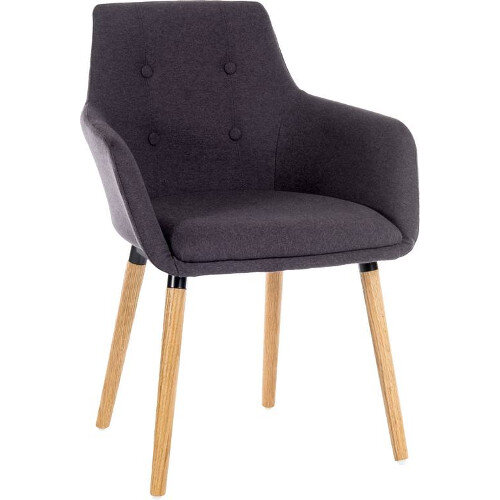 Four Legged Conference Chair With Modern Oak Coloured Legs In Graphite Pack of 2