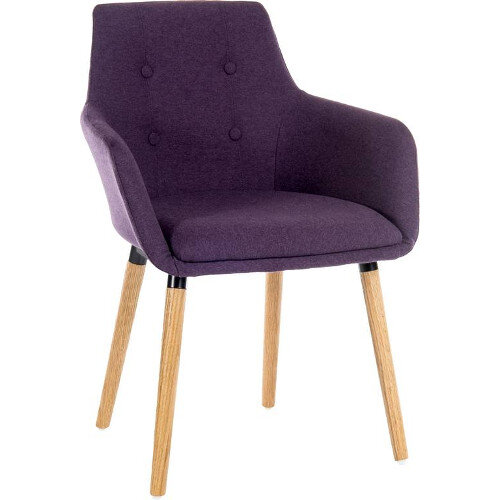 Four Legged Conference Chair With Modern Oak Coloured Legs In Plum Pack of 2