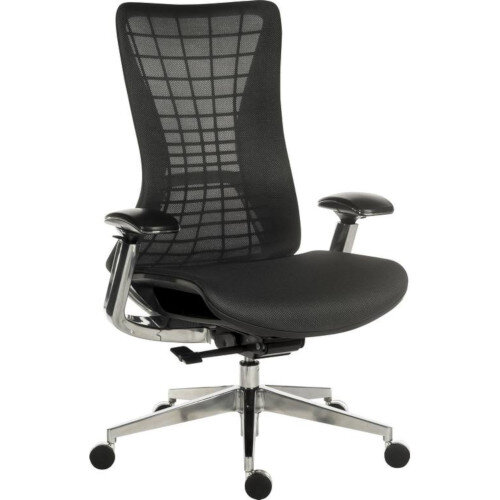 Quantum Executive High Mesh Back Office Chair Black With Black Frame &Metal Base