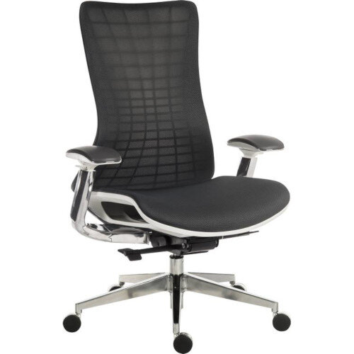 Quantum Executive High Mesh Back Office Chair Black With White Frame &Metal Base