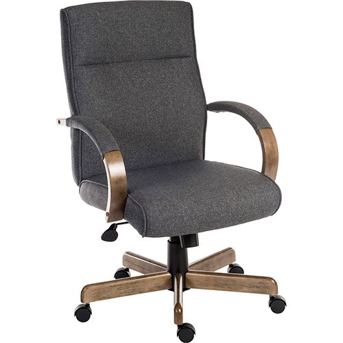 Grayson Executive Office Armchair  Grey Fabric With Driftwood Effect Wooden Arms &Base