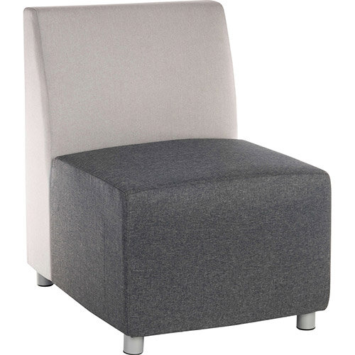 CUBE Modular Soft Seating Module - Single Seater Unit 2 Shade Grey Fabric Upholstery With Gunmetal Legs