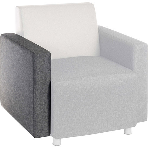 CUBE Modular Soft Seating Module - Interchangeable Left or Right Hand Armrest Dark Grey Fabric Upholstery