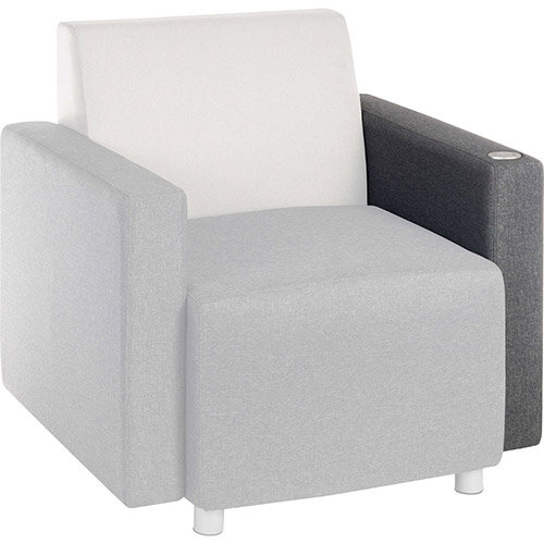 CUBE Modular Soft Seating Module - USB Portal Left Hand Armrest With Dark Grey Fabric Upholstery