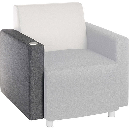 CUBE Modular Soft Seating Module - USB Portal Right Hand Armrest With Dark Grey Fabric Upholstery