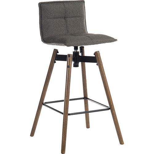 Spin Barstool Dark Wood Frame &Grey Seat