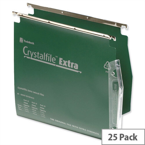 Rexel Crystalfile Extra Lateral 275mm Suspension File 15mm V-base Green Pack 25 Ref 70637