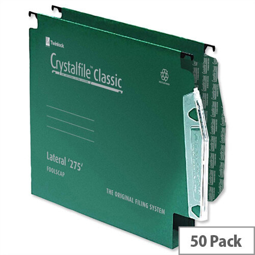Rexel Crystalfile Classic 275mm Lateral Suspension File Square-base 50mm Green Pack 50 Ref 71762
