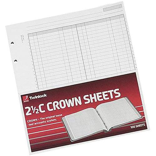 Twinlock 2.5C Crown Double Ledger Sheets Ref 75831 Pack 100 T75831