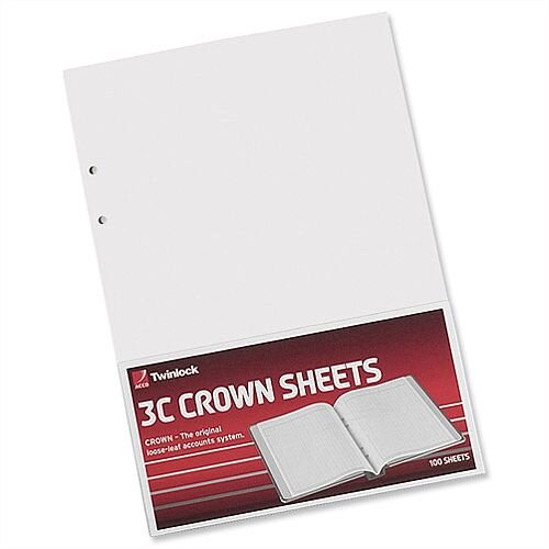 Twinlock 3C Crown Plain Sheets 75840 Pack 100