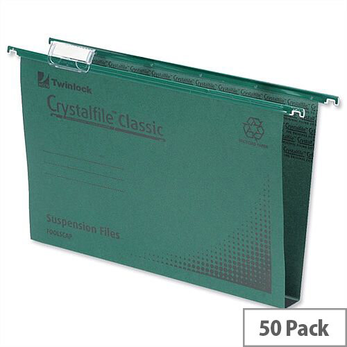 Rexel Crystalfile Classic Foolscap Vertical Suspension File Green 30mm Pack 50