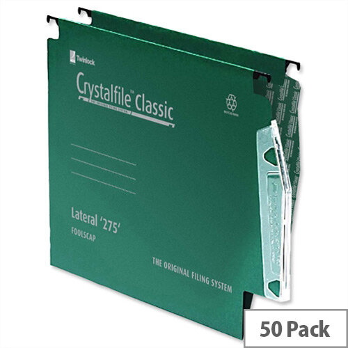 Rexel Crystalfile Lateral 275mm Suspension File 15mm V-base Green Pack 50