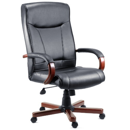 Kingston Executive Black Bonded Leather Faced Office Armchair With Mahogany Colour Wooden Arms And Legs