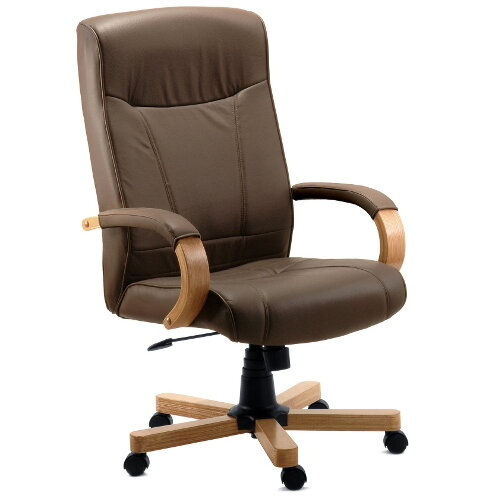 Richmond Executive Brown Bonded Leather Faced Office Armchair With Light Oak Colour Wooden Arms And Legs