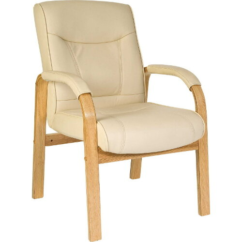 Knightsbridge Visitor Cream Bonded Leather Faced Armchair With Light Oak Colour Wooden Arms And Legs