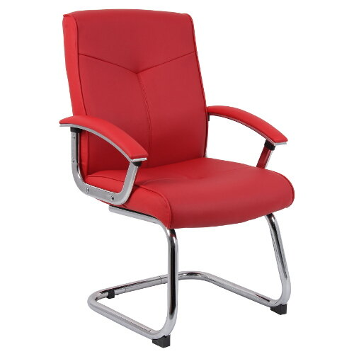 Hoxton Contemporary Style Leather Faced Visitor Chair In Red