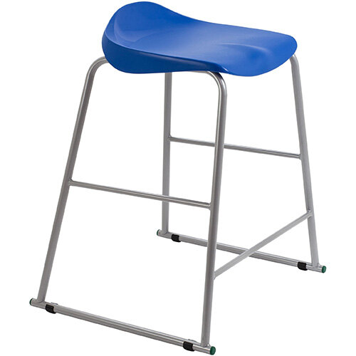 Titan High Backless Classroom Stool Size 5 610mm Seat Height (Ages: 11-14 Years) Polly Lipped Seat with Skid Base Blue T92-B - 5 Year Guarantee
