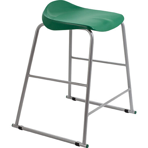 Titan High Backless Classroom Stool Size 5 610mm Seat Height (Ages: 11-14 Years) Polly Lipped Seat with Skid Base Green T92-GN - 5 Year Guarantee