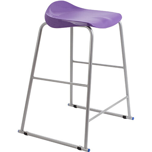 Titan High Backless Classroom Stool Size 6 685mm Seat Height (Ages: 14+ Years) Polly Lipped Seat with Skid Base Purple T93-P - 5 Year Guarantee
