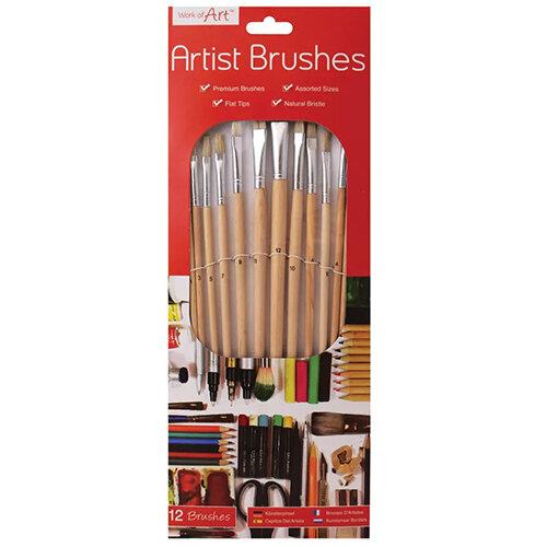 Work of Art Natural Bristle Artist Brushes Flat Tip Pack of 12 TAL06717