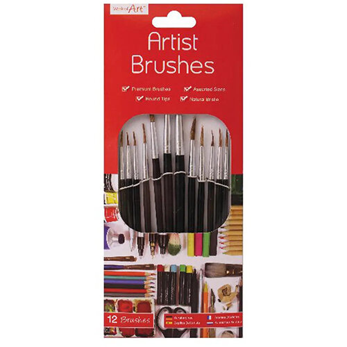 Work of Art Natural Bristle Artist Brushes Flat Tip Black Pack of 12 TAL06717