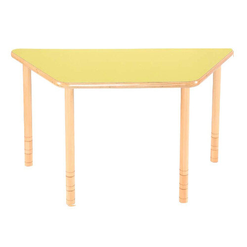 Flexi Trapezial Height Adjustable Table 48-58cm Yellow Top