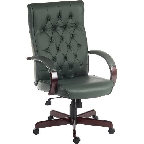 Warwick Traditional Office Chair Button Tufted Bonded Leather Backrest In Green With Mahogany Colour Wooden Arms And Legs