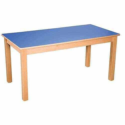 Rectangular Pre School Table Beech Blue 120x60 52cm High TC05201